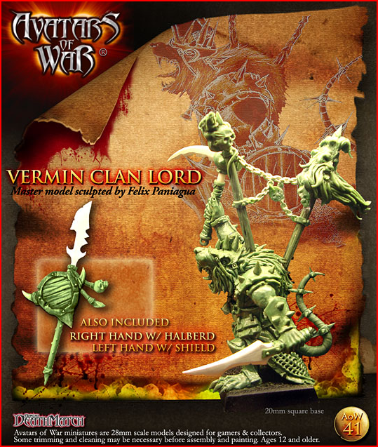 AoW41 Vermin Clan Lord, Master model sculpted by Felix Paniagua