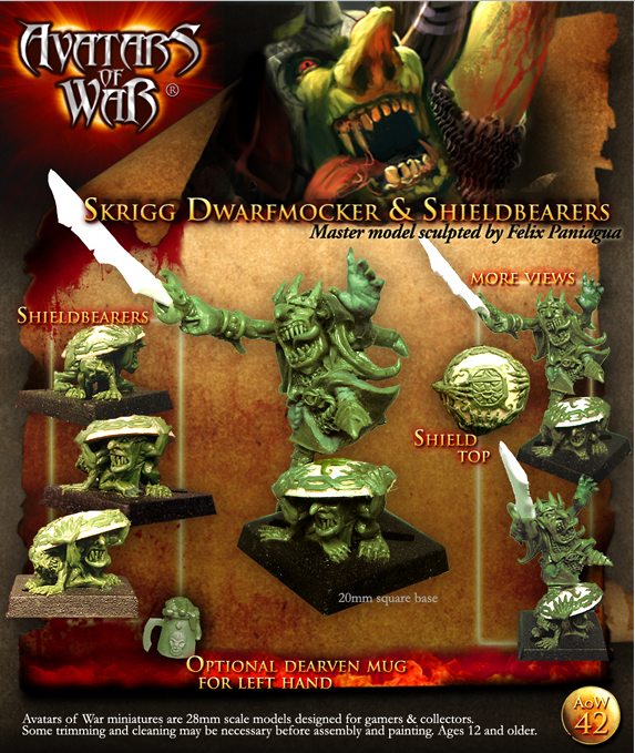 AoW42 Skrigg Dwarfmocker & shieldbearers master  model sculpted by Felix Paniagua.